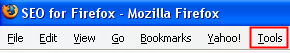 Firefox Tool Options Menu.